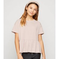 Girls Pink Peplum T-Shirt New Look