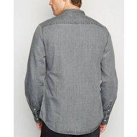 Grey Grandad Collar Denim Shirt New Look