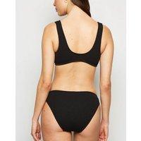 Black Crinkle Ring Crop Bikini Top New Look