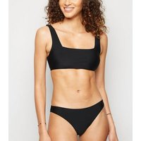 Black Square Neck Crop Bikini Top New Look