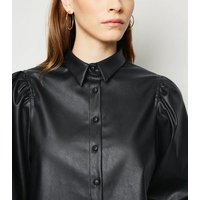 Black Coated Leather-Look Puff Sleeve Shirt New Look