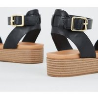 Girls Black Leather-Look Footbed Flatform Sandals New Look