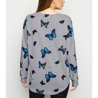 Mela Light Grey Butterfly Zip Front Jumper New Look