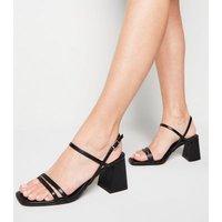 Black Leather-Look Flared Mid Heel Sandals New Look Vegan