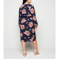 Mela Curves Navy Floral Wrap Midi Dress New Look