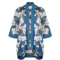 Mela Curves Blue Floral Long Kimono New Look
