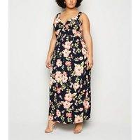 Mela Curves Navy Tropical Floral Maxi Dress New Look