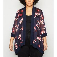 Mela Curves Navy Floral Long Kimono New Look