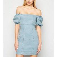Pale Blue Denim Puff Sleeve Bardot Dress New Look