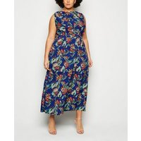 Mela Curves Blue Tropical Floral Maxi Dress New Look