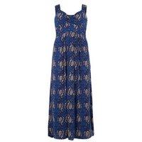 Mela Curves Blue Paisley Print Maxi Dress New Look