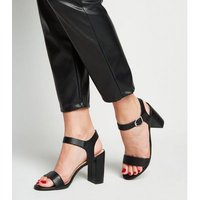 Black Faux Snake Block Heel Sandals New Look