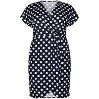 Mela Curves Navy Polka Dot Mini Wrap Dress New Look