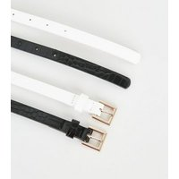 2 Pack White Faux Croc Skinny Belts New Look