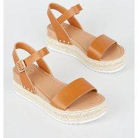 Girls Tan Espadrille Stud Trim Flatform Sandals New Look