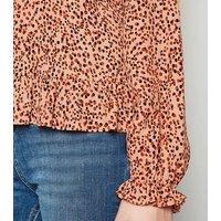 Tan Spot Frill Trim Blouse New Look