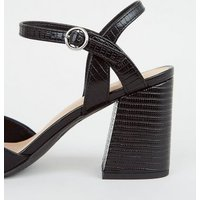 Black Faux Snake Flared Block Heel Court Shoes New Look Vegan