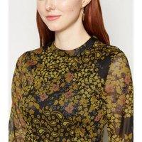 JDY Black Chiffon Floral Long Sleeve Mini Dress New Look