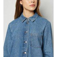 JDY Bright Blue Raw Hem Denim Dress New Look