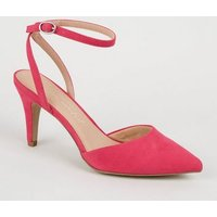 Wide Fit Bright Pink Suedette Pointed Court Shoes New Look Vegan