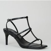 Wide Fit Black Faux Croc Strappy Stiletto Sandals New Look Vegan