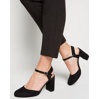 Wide Fit Black Suedette Round Toe Courts New Look Vegan