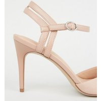 Pale Pink Suedette Strappy Pointed Court Shoes New Look Vegan