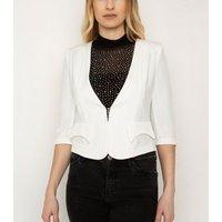 Cutie London White 3/4 Sleeve Crop Blazer New Look