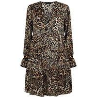 Brown Leopard Print Satin Smock Dress New Look