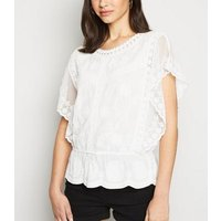 White Crochet Mesh Sleeve Peplum Top New Look