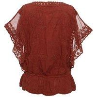 Rust Crochet Mesh Sleeve Peplum Top New Look