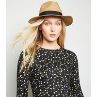 Tan Straw Effect Woven Fedora New Look