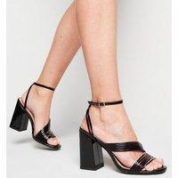 Black Patent Strappy Flared Heel Sandals New Look Vegan