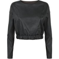 Cameo Rose Black Leather-Look Crop Top New Look