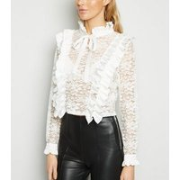 Cameo Rose Cream Lace Ruffle Blouse New Look