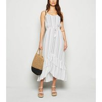 White Stripe Ruffle Dip Hem Midi Beach Dress New Look