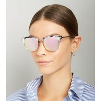 Grey Marble Effect Metal Square Sunglasses New Look