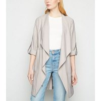 Stone Elasticated Waist Waterfall Duster Jacket New Look