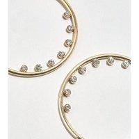 Gold Diamante Lined Hoop Earrings New Look