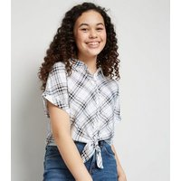 Girls White Check Tie Front Shirt New Look