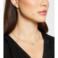 Silver Diamante Heart Pendant Necklace New Look