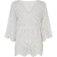 Blue Vanilla Off White Crochet Kimono Top New Look