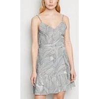 Blue Vanilla White Leaf Print Cami Dress New Look