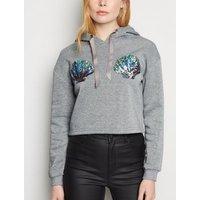 Pink Vanilla Grey Sequin Shell Crop Sweatshirt New Look