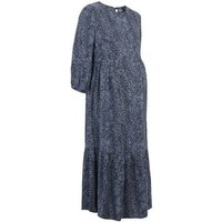 Maternity Blue Leopard Print Tiered Midaxi Dress New Look