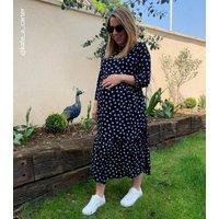 Maternity Black Spot Tiered Midaxi Dress New Look