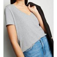 Grey Marl V Neck T-Shirt New Look