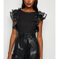 Cameo Rose Layered Mesh Sleeve Top New Look