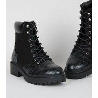 Black Suedette Faux Croc Chunky Hiker Boots New Look Vegan