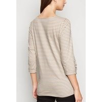 Maternity Brown Stripe Long T-Shirt New Look